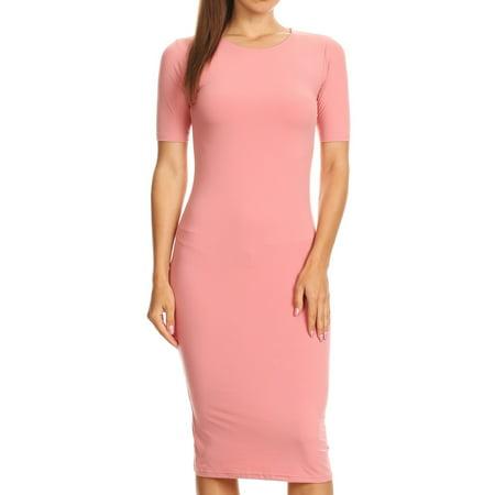 Women's Short Sleeve Crew Neck Midi Body Con Dress (Coral Pink, - Comic Con Dress Up