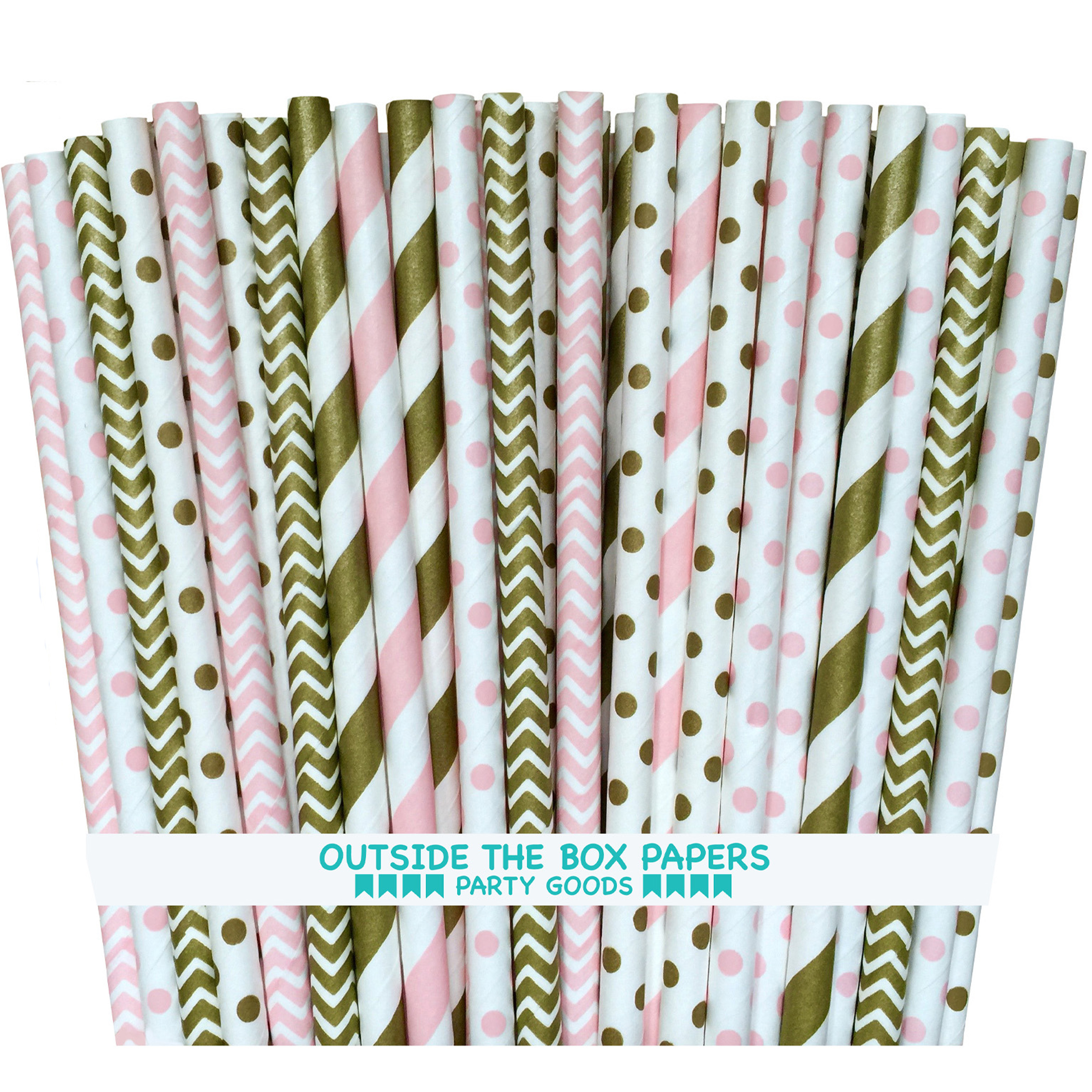 Gold and Pink Stripe, Polka Dot and Chevron Paper Straws  150 Pk