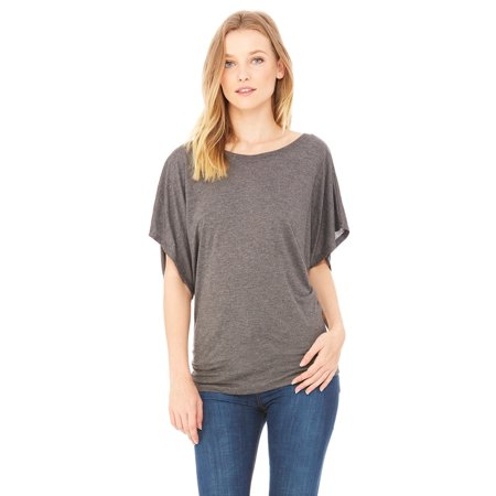 Branded Bella + Canvas Ladies Flowy Draped Sleeve Dolman T-Shirt - DRK GREY HEATHER - 2XL (Instant Saving 5% & more on min 2)