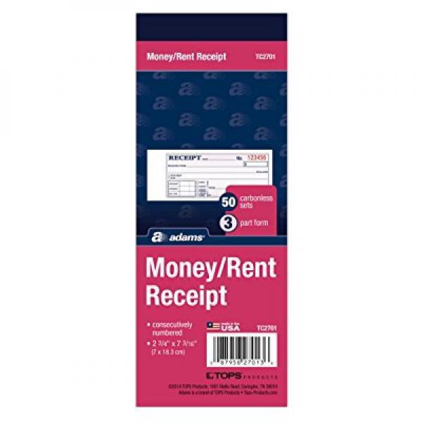 Adams Money Rent Receipt Book, Carbonless, 3-Part, 2-3 4 x 7-3 16 Inches, 50 Sets per Book (TC2701) by