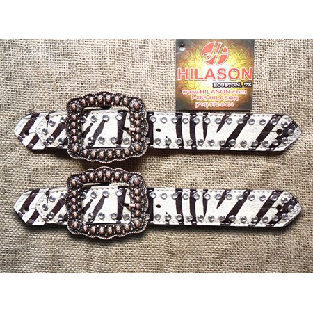 C39 HILASON WESTERN ZEBRA HAIR ON LEATHER SPUR STRAPS ADULT COPPER FINISH BUCKLE