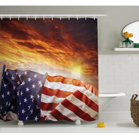 American Flag Decor Shower Curtain, Flag in front of Sunset Sky with Horizon Light America Union Idyllic Photo, Fabric Bathroom Set with Hooks, 69W X 75L Inches Long, Multi, by - Shower Wall Union