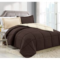 Clara Clark Luxury Down Alternative Reversible Comforter Set - Hypoallergenic, Box Stitched - Duvet Insert, Queen - Black/Gray