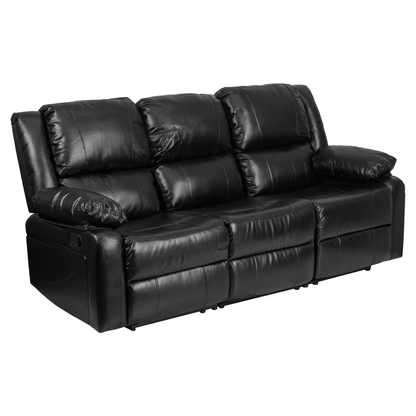 Flash furniture harmony series black leather sofa with two built in recliners walmart com