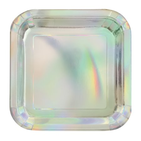 Foil Square Paper Plates, 7 in, Iridescent, 8ct