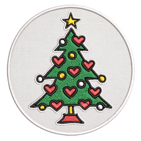 Heart Christmas Tree Embroidered DIY Iron on or Sew-on Decorative Patch Badge Emblem Appliques Holiday Stocking Christmas Series ()
