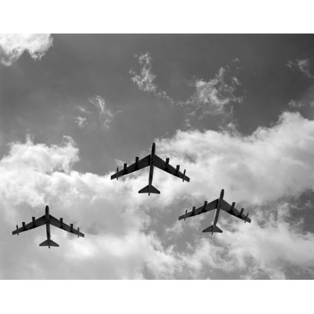 B-52 Stratofortress Bomber (1950s Three B-52 Stratofortress Bomber Airplanes In Flight Formation As Seen From The Ground Directly Over Head Print)
