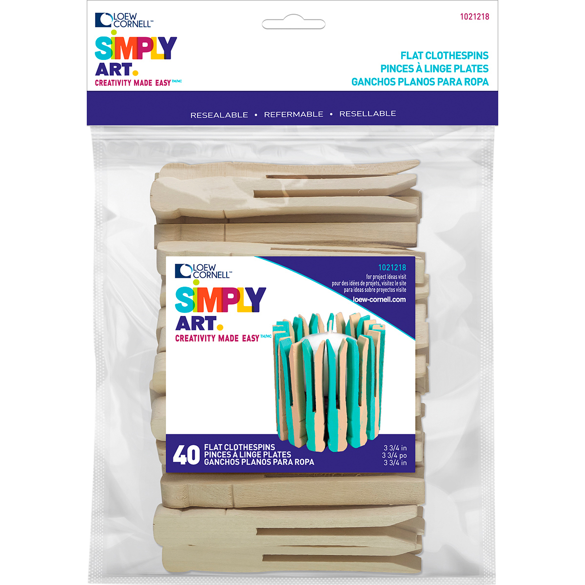 """Woodsies No Roll Clothespins, 3.75"""", 40-Pack"""
