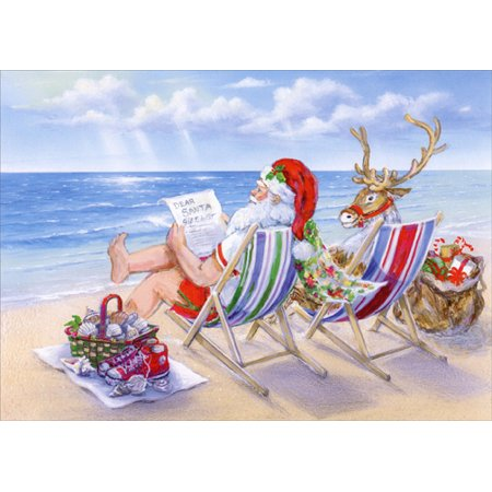 Red Farm Studios Santa Relaxing at the Beach Box of 18 Warm Weather Christmas - Red Farm