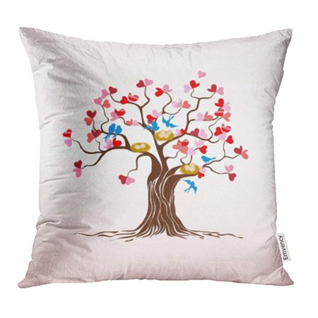 Nest Red Leaf (ARHOME Pink Animal Love Tree with Heart Leaves and Birds Couple Flying Nest Abstract Red Pillowcase Cushion Cases 16x16)