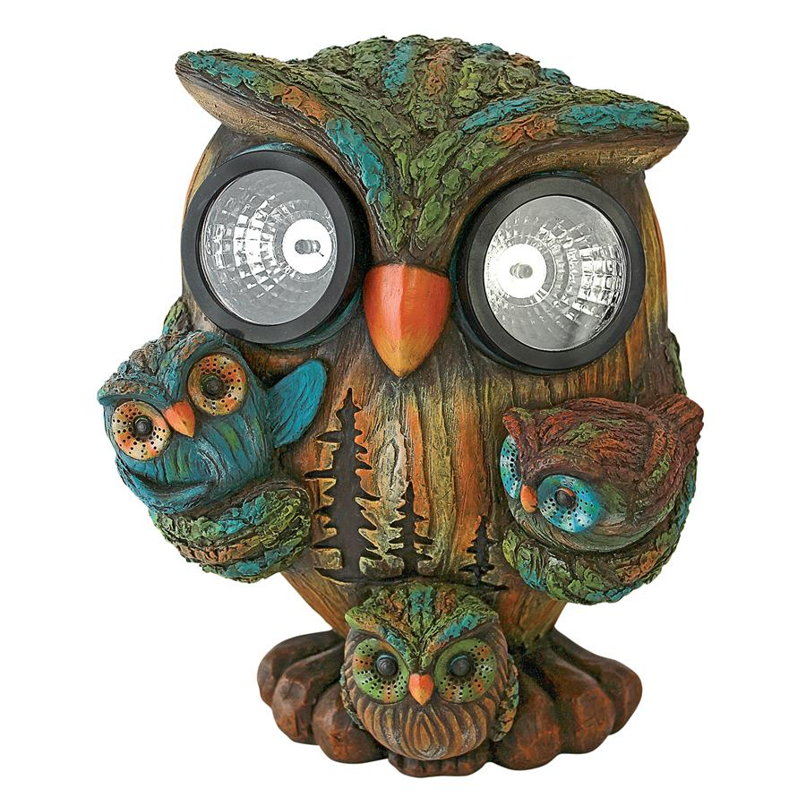 Bright Eyes Solar Owl Family Garden Statue by Design Toscano