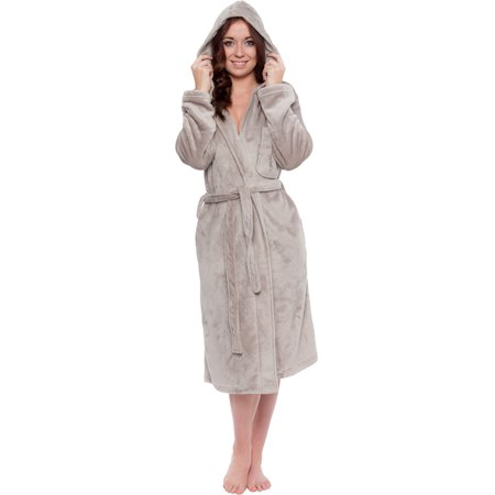 Silver Lilly Womens Plush Wrap Kimono Hooded Bath Robe Loungewear w/ Tie Belt