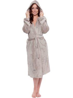 ea07000440 Product Image Silver Lilly Womens Plush Wrap Kimono Hooded Bath Robe  Loungewear w  Tie Belt
