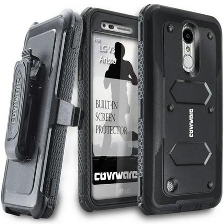 (LG Aristo / LG Fortune / K8 (20017) / LV3 Case, COVRWARE [Aegis Series] with Built-in [Screen Protector] Heavy Duty Full-Body Rugged Holster Armor Case [Belt Swivel Clip][Kickstand], Black)