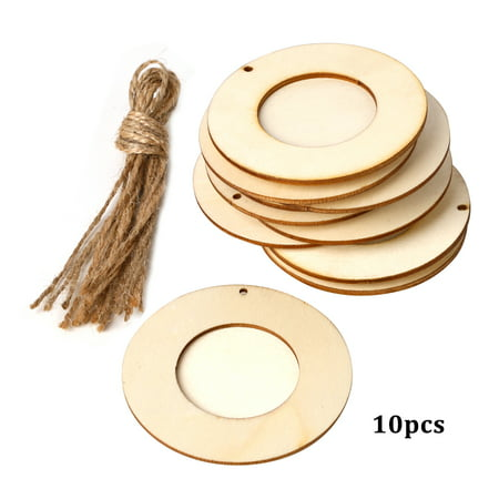10pcs Mini Round Wood Photo Frame Picture Holder with Hanging Rope DIY Wooden Crafts for Wall Decoration ()