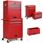 Costway 6-Drawer Rolling Tool Chest Storage Cabinet w/Riser Red\Black