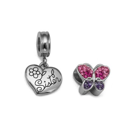 Crystal Stainless Steel Sister Heart and Butterfly Charm Set ()
