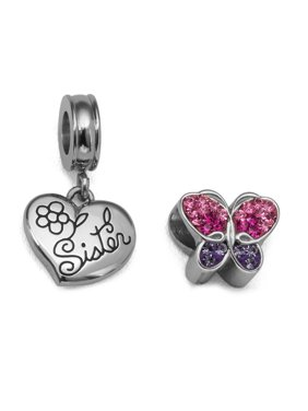 Crystal Stainless Steel Sister Heart and Butterfly Charm Set