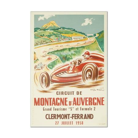 Montagne d'Auvergne Vintage Poster (artist: Geo Ham) France c. 1958 (8x12 Acrylic Wall Art Gallery (Geo Ham)