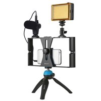 PULUZ PKT3023 Smartphone Handheld Filmmaking Video Rig + 96 LEDs LED Studio Light + Video Microphone + Mini Tripod Mount Kits with Cold Shoe Tripod Head for Outdoor Shooting Live Broadcast