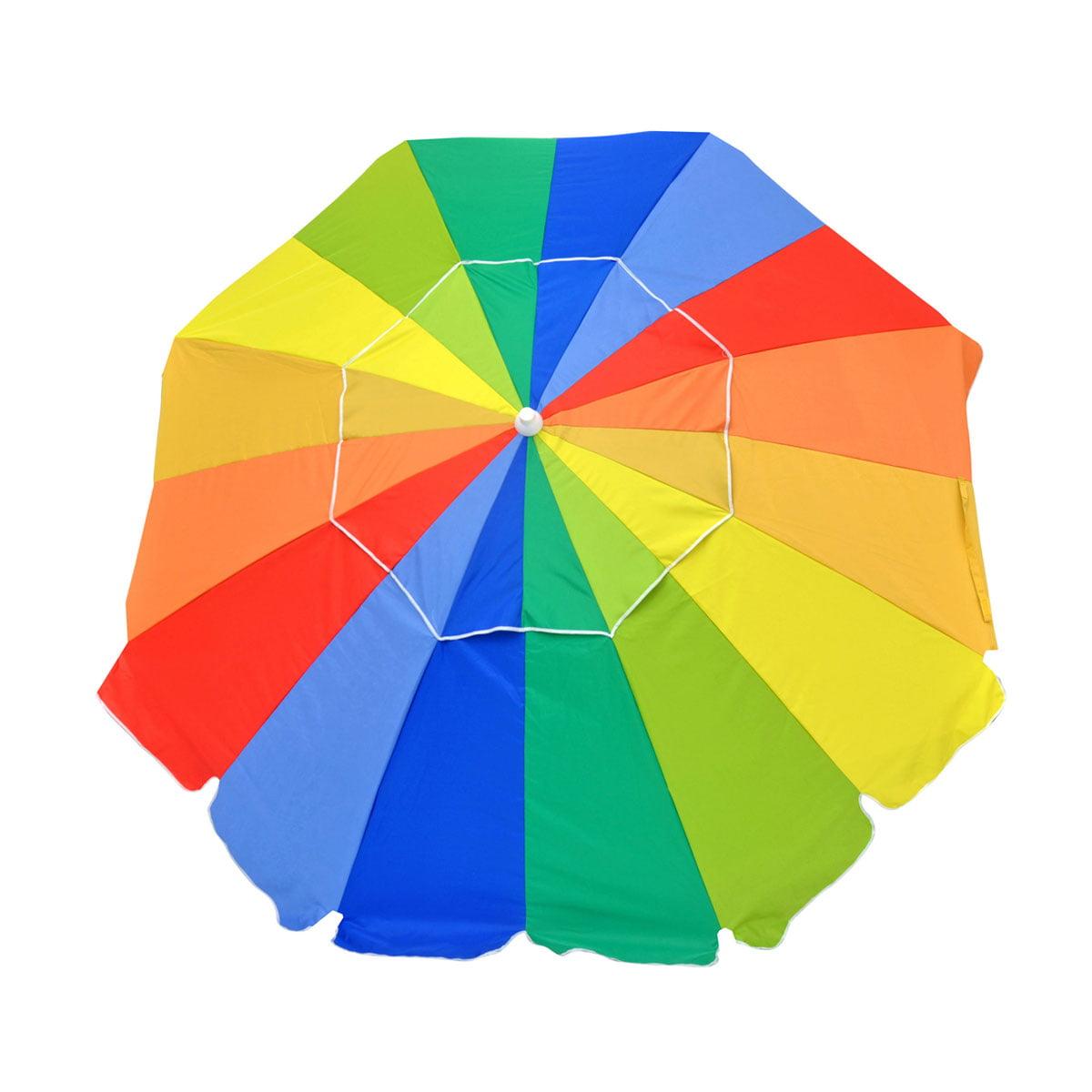 7.5 ft Commercial Grade Fiberglass Beach / Patio Umbrella UPF100 with Accessory Hook - One Yr Warranty