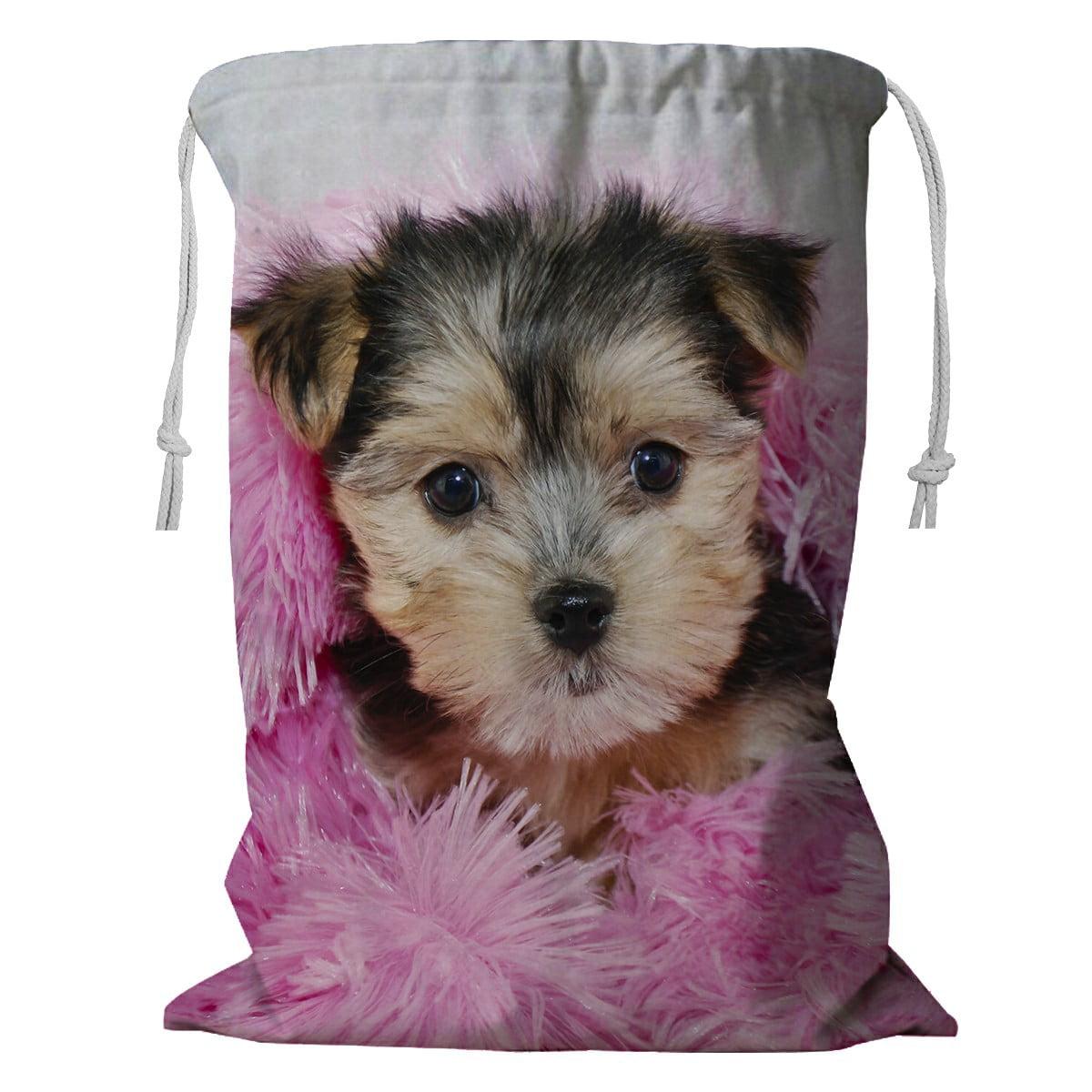 Eczjnt Cute Morkie Puppy Snuggled In A Pink Blanket Storage Basket Laundry Bag With Drawstring 24x32 Inch Walmart Com Walmart Com
