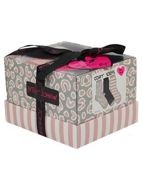 Betsey Johnson Ladies 3pk Leopard Cozy Sock Gift Box
