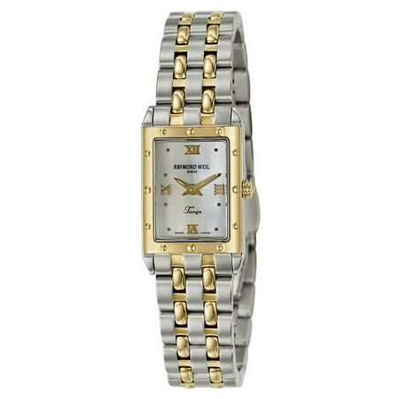 Weil Sweet - Raymond Weil 5971-STP-00915 Women's Tango Rectangular Two-Tone Mother-Of-Pearl Dial Watch