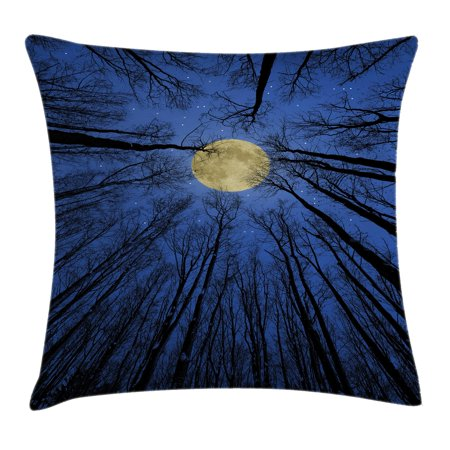 Forest Home Decor Throw Pillow Cushion Cover  Full Moon Illumination In Woods Star Night Heavenly Lunar Treetops Up Space Art  Decorative Square Accent Pillow Case  24 X 24 Inches  Blue  By Ambesonne