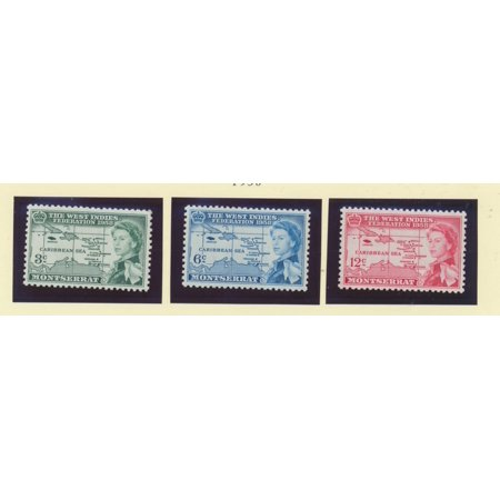 British Postage Stamps - Montserrat Scott #143 To 145 - West Indies Federation, British Carribean Common Design Issue From 1958 - Collectible Postage Stamps