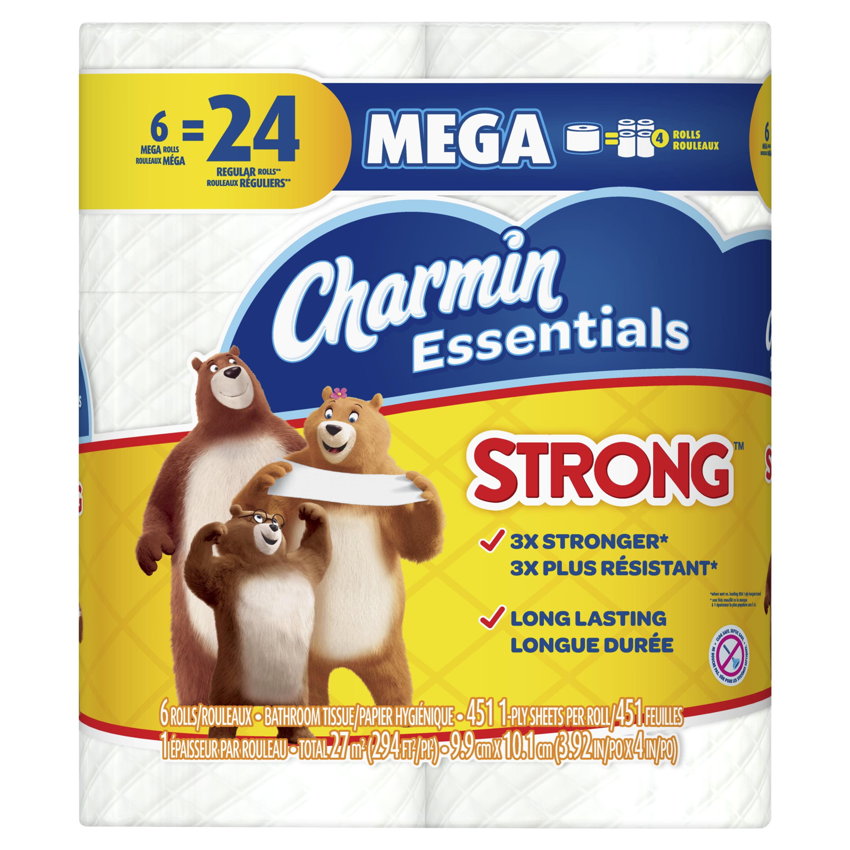 Charmin Essentials Strong Toilet Paper 6 Mega Rolls, 451 sheets per roll