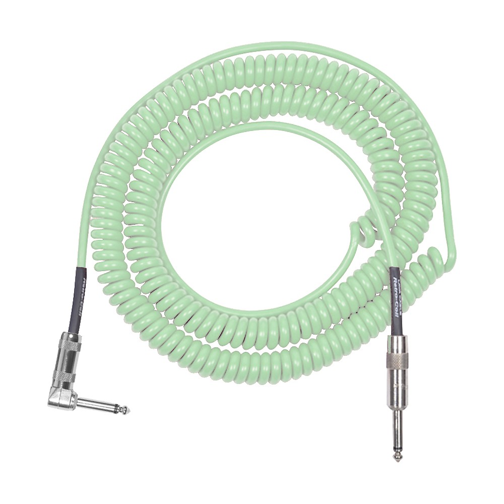 Lava Retro Coil 20-Foot Silent Instrument Cable Straight-Right Angle, Assorted Colors Surf Green