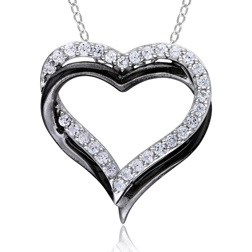 Miabella 5/8 Carat T.G.W. White Sapphire Sterling Silver with Black Plating Interlocking Double-Heart Pendant, 18""