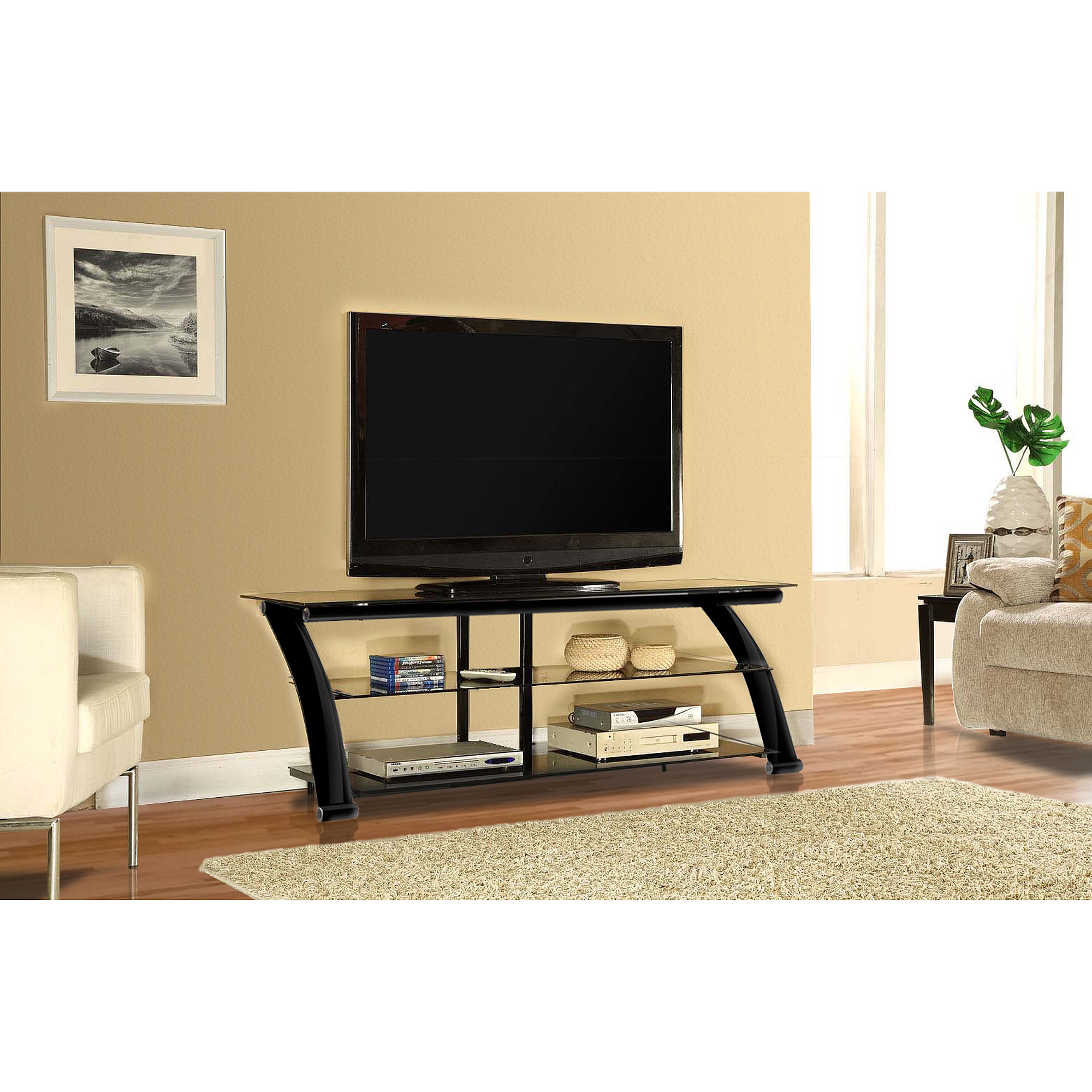 Innovex Nexus Black Glass Tv Stand For Tvs Up To 65 Walmart Com