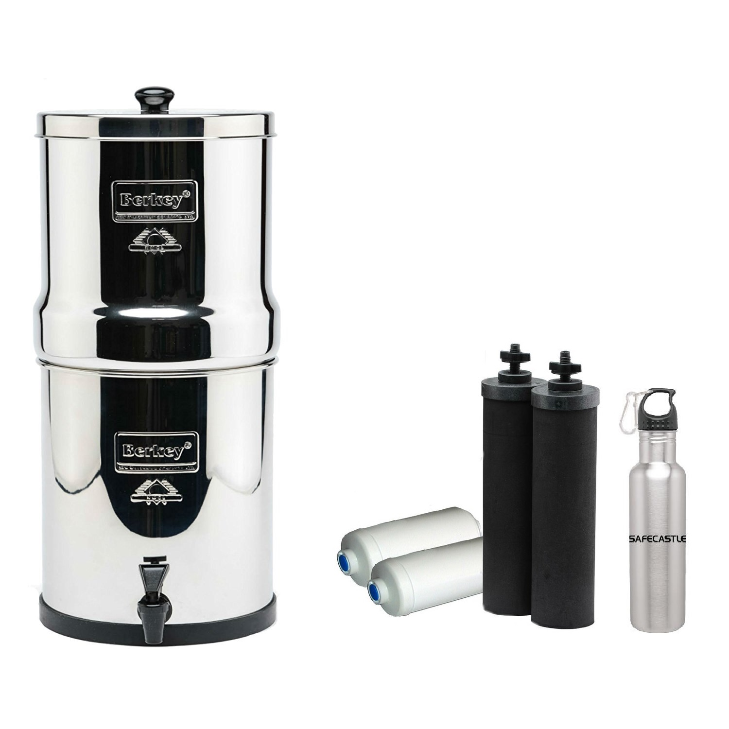 Big Berkey Water Purifier with 2 Black, 2 PF-2 Filters and Safecastle Bottle FREE by Berkey