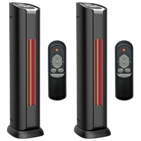 "Lifesmart 24"" 2 Element Quartz Infrared Portable Tower Heater & Fan (Pair)"