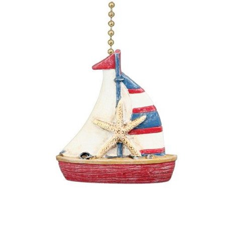 Nautical Coastal Sailboat Ceiling Fan Pull, Measures 2 inches By Clementine Designs