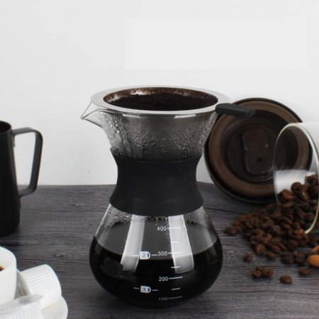Coffee Maker Pot,Manual Hand Drip Coffee Maker Glass Pot with Stainless Steel Filter, Hand Drip Coffee Maker - Manual Drip Coffee Maker