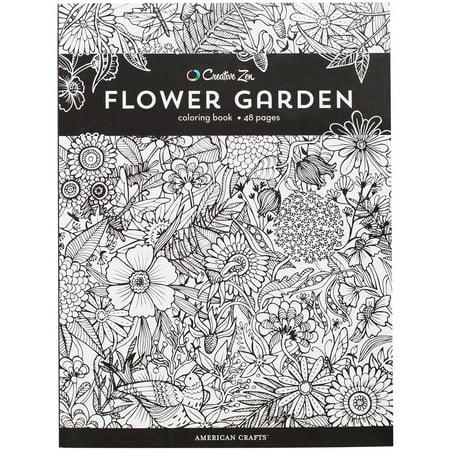 American Crafts 375319 Creative Zen Coloring Book - Flower Garden