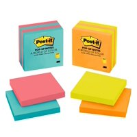 "Post-it Pop-up Notes, 3"" x 3"", Cape Town Assorted Colors, 4 Pads/Pack"