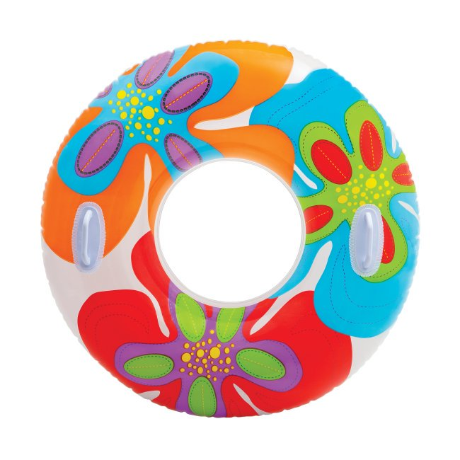 Intex Groovy Color Inflatable Tropical Flower Transparent Tube Raft | 58263EP