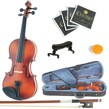 Mendini by Cecilio Full Size 4/4 MV300 Handcrafted Solid Wood Violin Pack with 1 Year Warranty, Shoulder Rest, Bow, Rosin, Extra Set Strings, 2 Bridges & Case, Satin Antique Finish ()