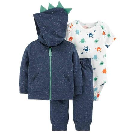 b07be94fc Carters Infant Boys 3Pc Baby Outfit Blue Monster Hoodie Bodysuit & Pants  Set - Walmart.com