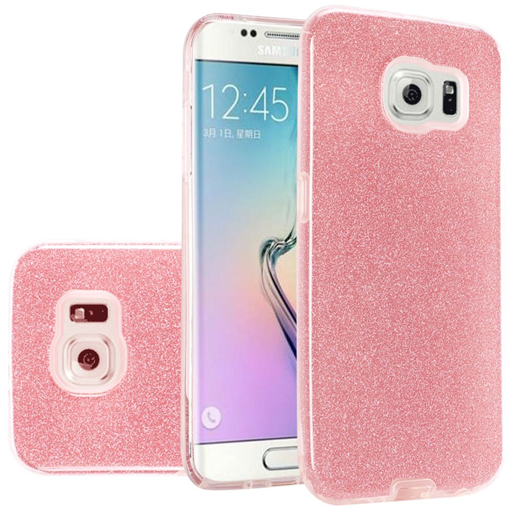 For Samsung S6 Hybrid Clear PC TPU with Glitter Shiny Sparkle Shockproof Phone Case Cover - Red