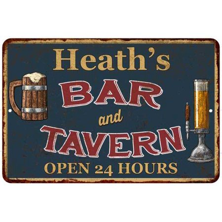 Heath's Green Bar & Tavern Personalized Rustic Sign 16 x 24 Matte Finish Metal 116240047371