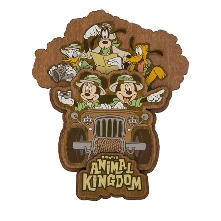 Disney Parks Animal Kingdom Mickey & Friends Safari Wood Magnet -