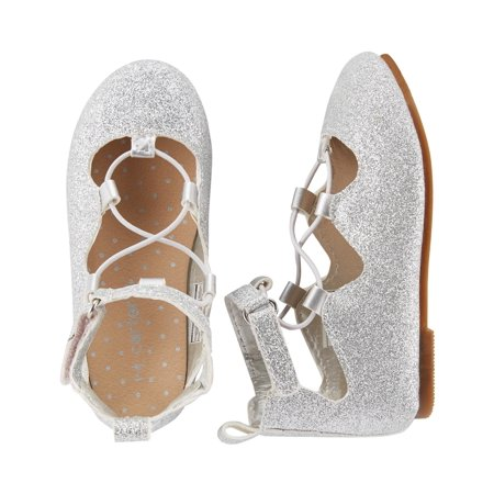 Carter's Little Girls' Lace-Up Ballet Flats, Silver - Girls Silver Shoes