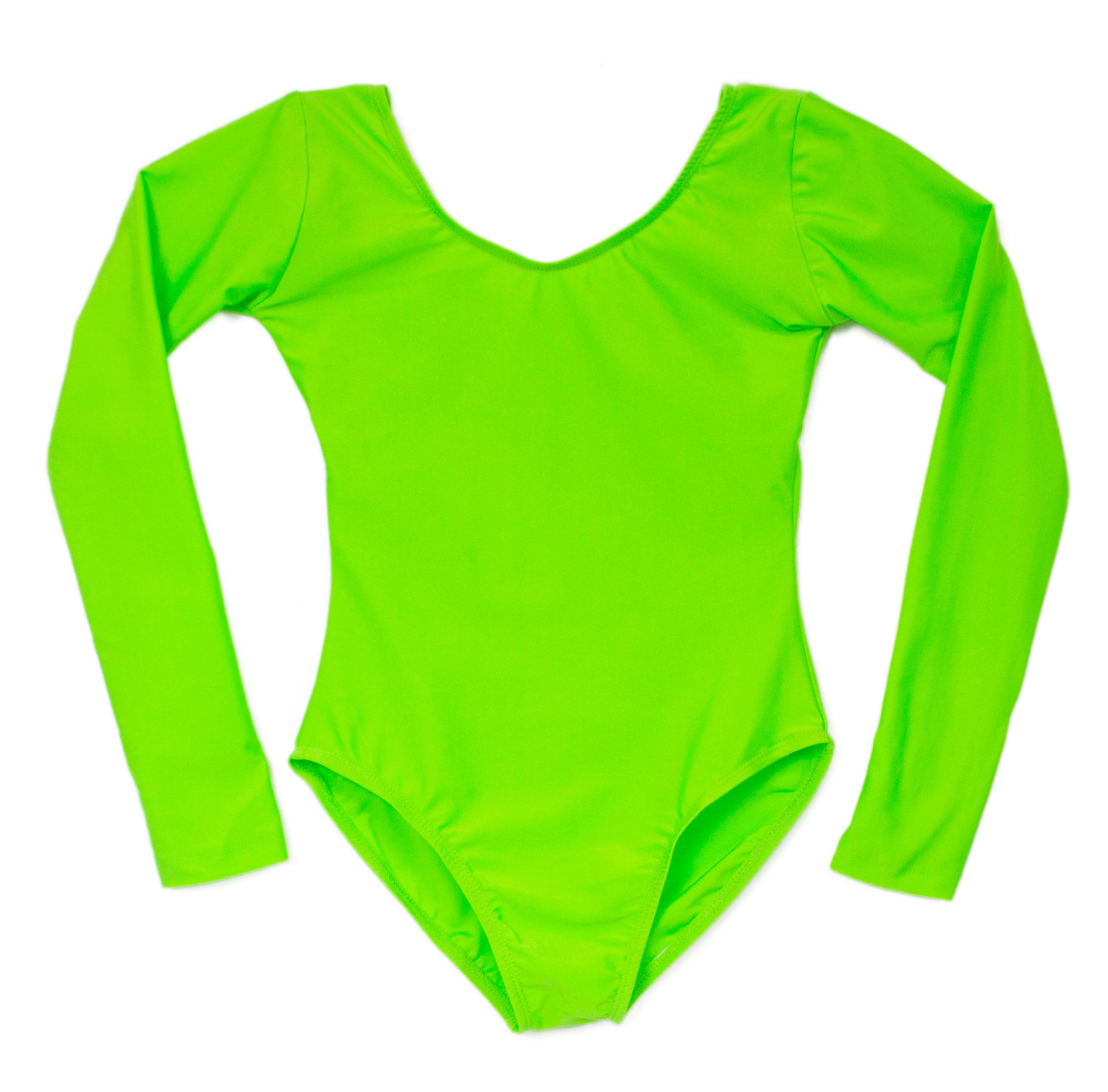 Women's Plus Scoop neck Long Sleeve Leotard Bright Lime G...