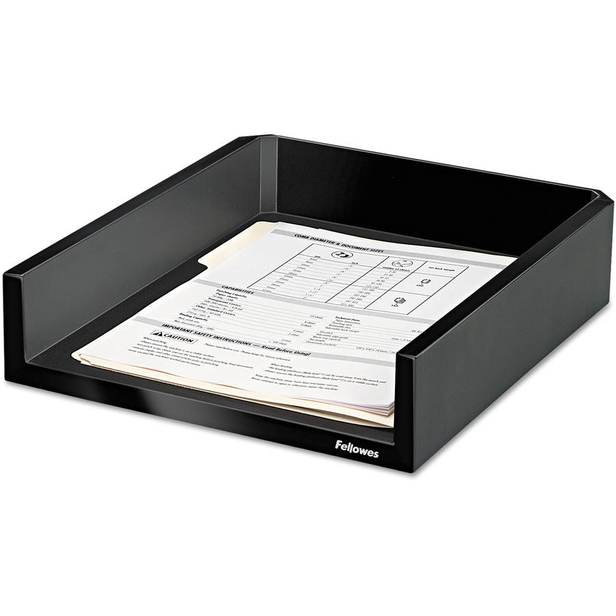 "Fellowes Design Suites Letter Desk Tray, 11-1/10"" x 13"" x 2.5"", Black Pearl"