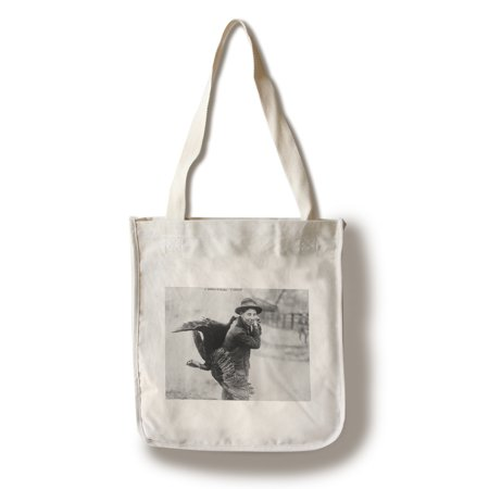 Boy with Thanksgiving Turkey over Shoulder Photograph (100% Cotton Tote Bag - Reusable)